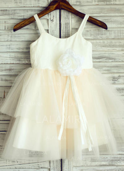 Flattering Straps A-Line/Princess Flower Girl Dresses Cotton Sleeveless (010196740)