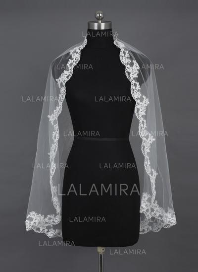 Elbow Bridal Veils Tulle One-tier Mantilla/Rectangular With Lace Applique Edge Wedding Veils (006151554)