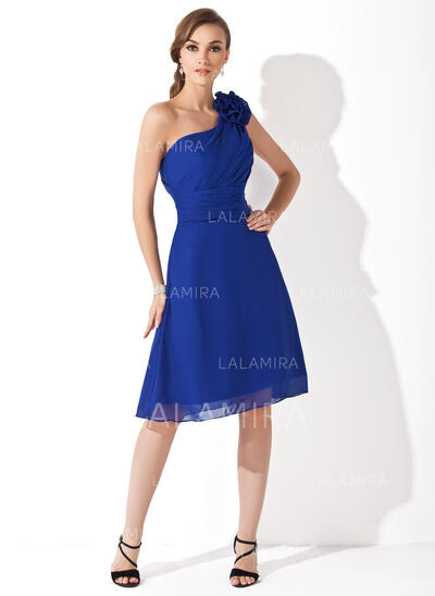 A-Line/Princess One-Shoulder Knee-Length Chiffon Bridesmaid Dress With Ruffle Flower(s) (007021111)