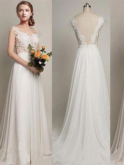 Sweep Train A-Line/Princess Stunning Chiffon Wedding Dresses (002210844)