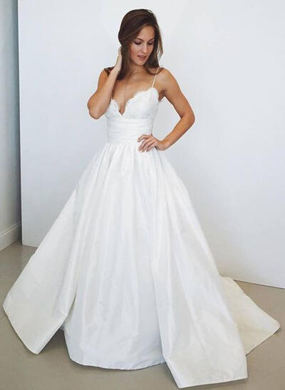 V-neck Sweep Train - Ball-Gown Taffeta Wedding Dresses (002148082)