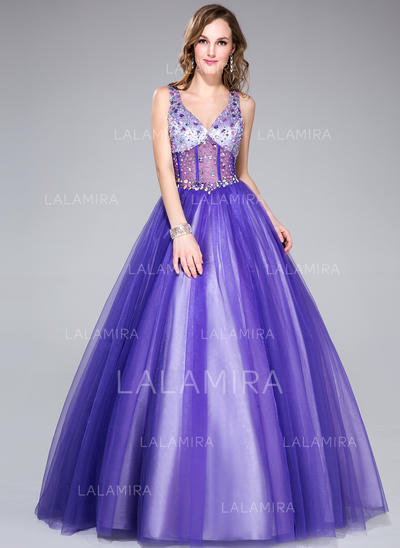 4ec15766350 Ball-Gown Tulle Prom Dresses Beading V-neck Sleeveless Floor-Length  (018135558