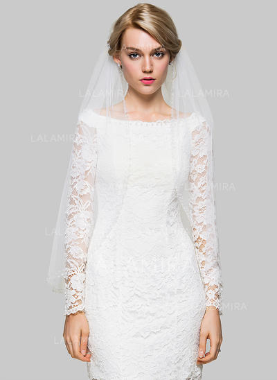 Fingertip Bridal Veils Tulle One-tier Classic With Beading Wedding Veils (006151918)