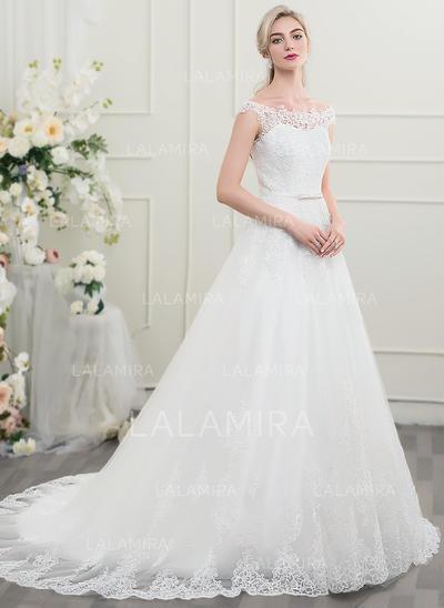 Tul Encaje Corte de baile Princesa Lazo(s) Vestidos de novia (002095821)
