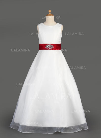 Newest Scoop Neck A-Line/Princess Organza/Satin Flower Girl Dresses (010014643)