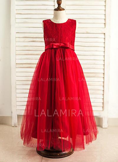 Scoop Neck A-Line/Princess Flower Girl Dresses Satin/Tulle Bow(s) Sleeveless Floor-length (010212168)