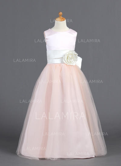 Floor-length Scoop Neck Satin/Tulle Flower Girl Dresses With Ruffles/Sash/Flower(s)/Bow(s) (010007827)