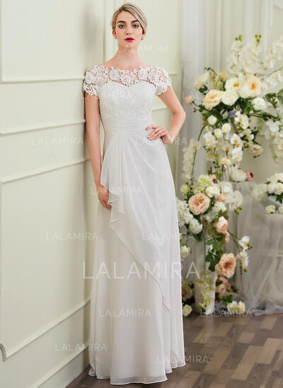 Sheath/Column Scoop Neck Floor-Length Chiffon Wedding Dress With Cascading Ruffles (002097349)