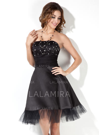 Stunning A-Line/Princess Satin Cocktail Dresses (016002430)