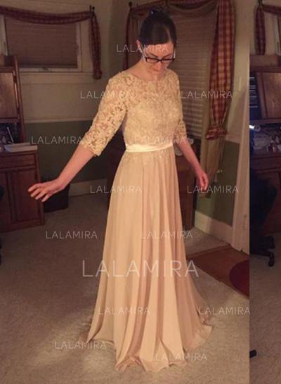 Forme Princesse Col rond Mousseline Glamour Robes mère de la mariée (008212732)