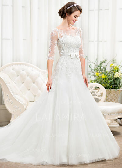 Ball-Gown/Princess Illusion Chapel Train Tulle Lace Wedding Dress With Beading Sequins Bow(s) (002056466)