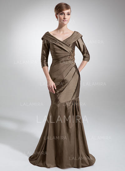 Trumpet/Mermaid Taffeta 1/2 Sleeves Off-the-Shoulder Sweep Train Zipper Up Mother of the Bride Dresses (008213119)