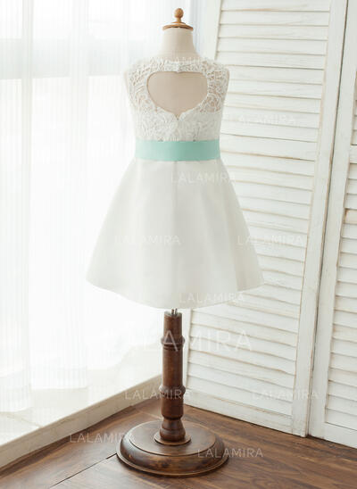 Vestidos princesa/ Formato A Coquetel Vestidos de Menina das Flores - Cetim/Renda Sem magas Decote redondo com Cintos (010125816)
