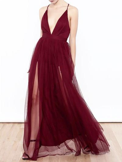 Elegante Escote en V Corte A/Princesa Sin mangas Tul Vestidos de baile de promoción (018217362)