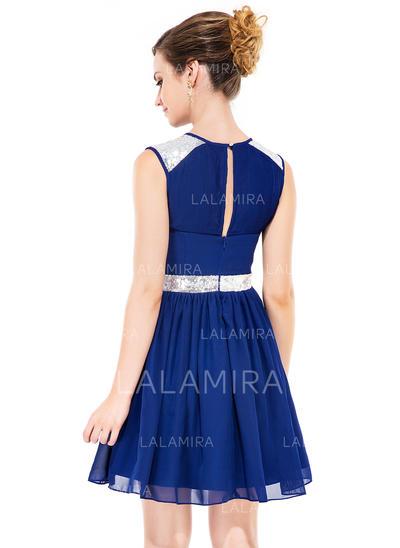 e83ce2bb802 A-Line Princess Short Mini Homecoming Dresses Scoop Neck Chiffon Sleeveless  (022051142