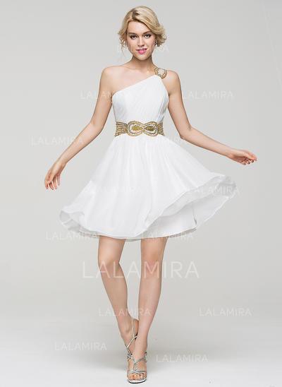 Mousseline Bretelles classiques Forme Princesse Seule-épaule Robes de soirée étudiante (022214097)