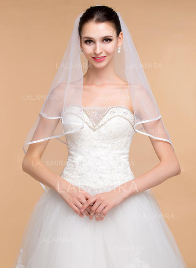 Elbow Bridal Veils Tulle One-tier Classic With Ribbon Edge Wedding Veils (006152010)