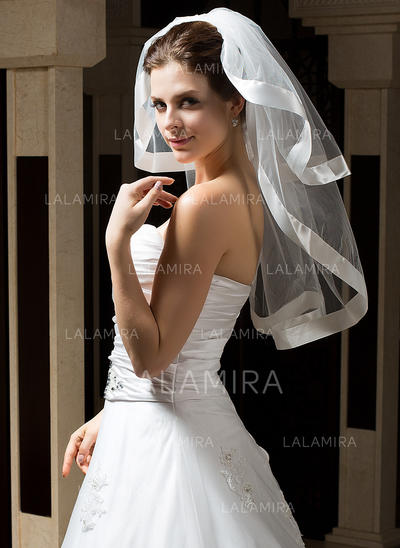Elbow Bridal Veils Tulle Two-tier Classic With Ribbon Edge Wedding Veils (006151174)