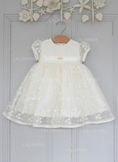 Tul Escote redondo Flores Vestidos de bautizo para bebés con Manga corta (2001216814)