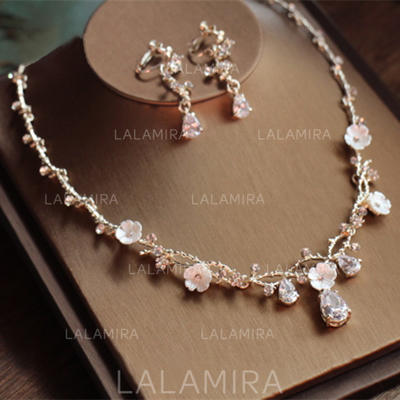 Jewelry Sets Alloy/Rhinestones/Zircon Earclip Ladies' Beautiful Wedding & Party Jewelry (011167490)