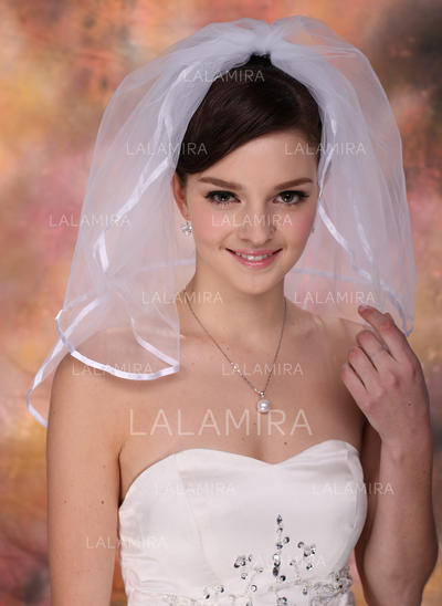 Shoulder Veils Tulle Two-tier Classic With Ribbon Edge Wedding Veils (006150953)