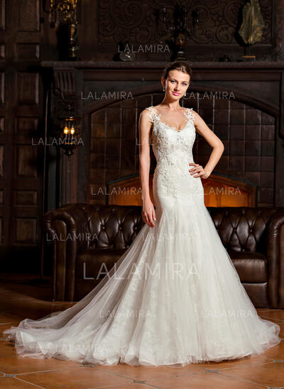 Trumpet/Mermaid V-neck Court Train Tulle Lace Wedding Dress (002067203)
