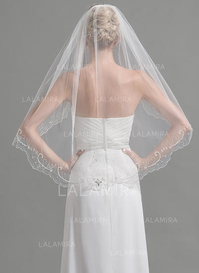 Fingertip Bridal Veils Tulle One-tier Oval With Beading/Sequin Wedding Veils (006151933)