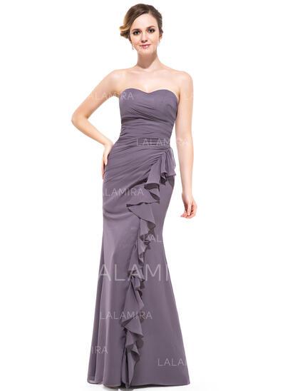 Trumpettimekot/Merenneito Kullanmuru Lattiaa hipova pituus Sifonki Morsiusneitojen mekko jossa Laskeutuva röyhelö (007051393)