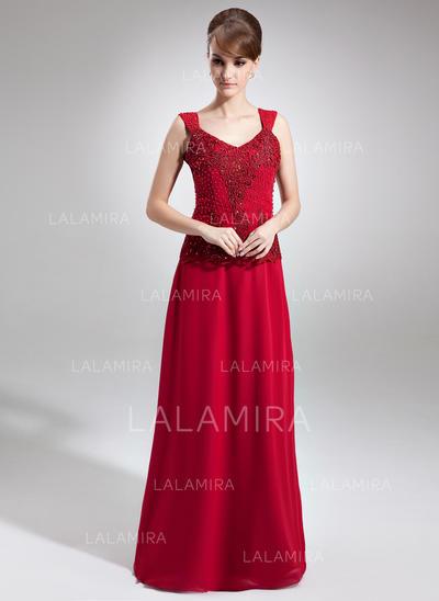 Sexy Chiffong V-hals A-formet/Prinsesse Kjoler til Brudens Mor (008006256)