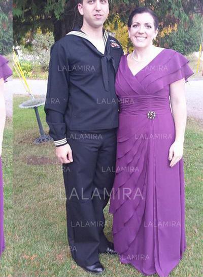 A-linje V-hals Chiffon Yndig Kjoler til Brudens Mor (008212799)