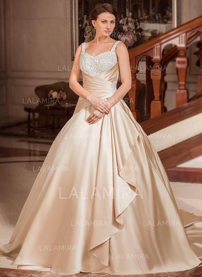 Lace Beading Cascading Ruffles Sleeveless Sweetheart Satin Ball-Gown Wedding Dresses (002210415)