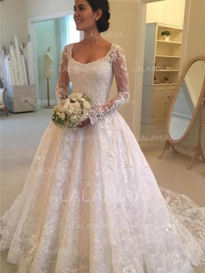 Ball-Gown Lace Long Sleeves Scoop Cathedral Train Wedding Dresses ...