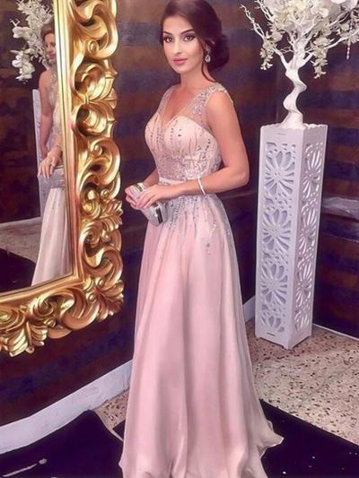 Longos Vestidos princesa/ Formato A Deslumbrante Decote V Tecido de seda Vestidos de baile (018218638)