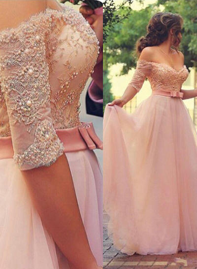 A-Line/Princess Off-the-Shoulder Floor-Length Tulle Prom Dresses With Beading Appliques Lace (018217349)