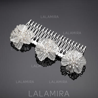 "Combs & Barrettes Wedding/Party/Carnival Rhinestone/Alloy 5.31""(Approx.13.5cm)/2.56""(Approx.6.5cm) Flower Shaped Headpieces (042156079)"