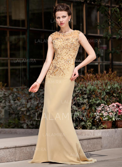 Delicate Sweep Train Trumpet/Mermaid Chiffon Mother of the Bride Dresses (008211076)