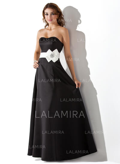 Empire Sweetheart Floor-Length Satin Bridesmaid Dress With Sash Beading Flower(s) (007004287)