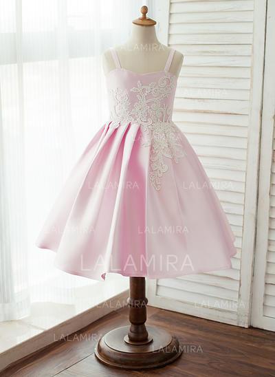 Corte A/Princesa Hasta la rodilla Vestidos de Niña Florista - Satén Sin mangas Correas de hombro con Encaje (010125854)