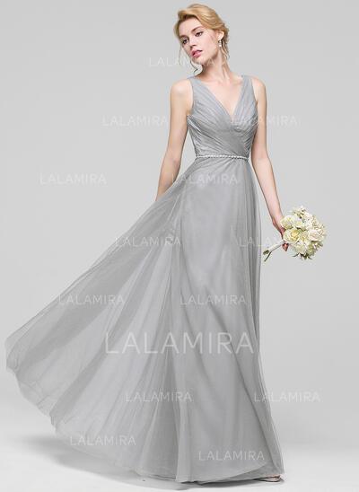 A-Line/Princess V-neck Floor-Length Tulle Bridesmaid Dress With Ruffle Beading (007090202)