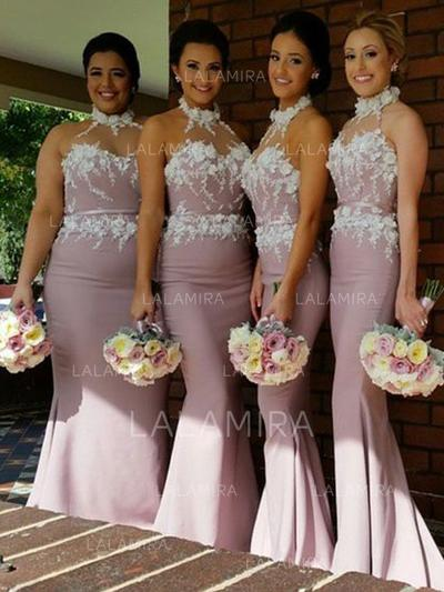 Trumpet/Mermaid Sweep Train Stretch Crepe Halter Bridesmaid Dresses (007144987)