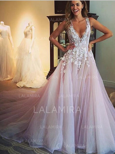 Ball-Gown Tulle Sleeveless Deep V Neck Cathedral Train Wedding Dresses (002144883)