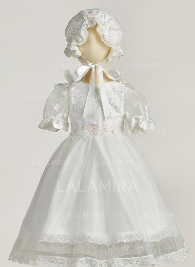 Tul Escote redondo Flores Vestidos de bautizo para bebés con Manga 1/2 (2001217428)