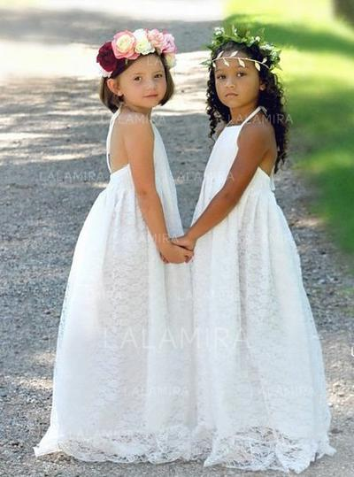 Chic Halter A-Line/Princess Flower Girl Dresses Sweep Train Lace Sleeveless (010146726)