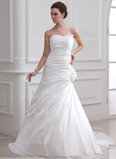 Taffeta Strapless Court Train Stunning Wedding Dresses (002001716)