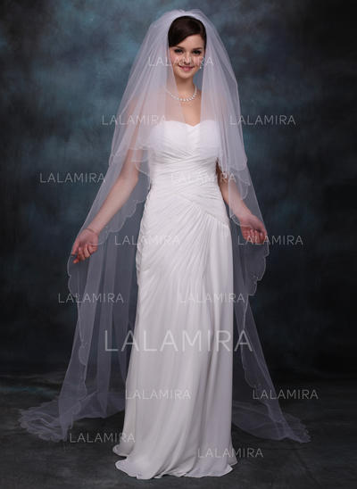 Chapel Bridal Veils Tulle Two-tier Drop Veil With Scalloped Edge Wedding Veils (006150919)