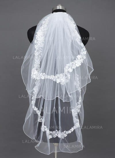 Fingertip Bridal Veils Tulle Two-tier Oval With Pencil Edge Wedding Veils (006151399)