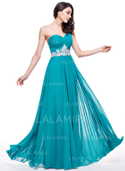 A-Line/Princess Chiffon Prom Dresses Ruffle Beading Appliques Lace Sequins One-Shoulder Sleeveless Floor-Length (018210588)