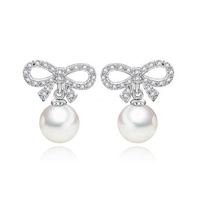 Earrings Pearl/Zircon/Platinum Plated Pierced Ladies' Beautiful Wedding & Party Jewelry (011167013)