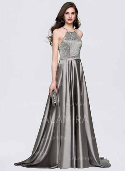 A-Line/Princess Scoop Neck Sweep Train Satin Prom Dresses With Beading (018146345)