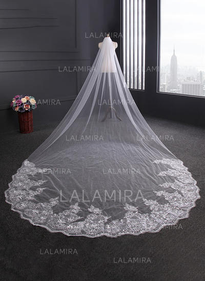 Cathedral Bridal Veils Tulle One-tier Oval With Lace Applique Edge Wedding Veils (006152188)